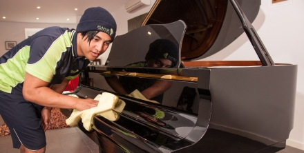 Cleaning a piano